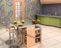εσωτερική κουζίνα σύγχρ&omi στοκ φωτογραφίες