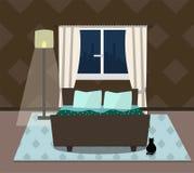 Εσωτερική κρεβατοκάμαρα με τη γάτα, το κρεβάτι και το παράθυρο επίσης corel σύρετε το διάνυσμα απεικόνισης διανυσματική απεικόνιση