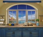 Εσωτερική μπλε κουζίνα Στοκ Φωτογραφίες