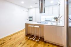 Εσωτερική νέα σύγχρονη άσπρη κουζίνα σχεδίου με τις συσκευές κουζινών Στοκ Φωτογραφίες