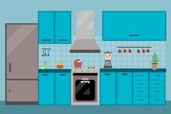 Εσωτερική να δειπνήσει κουζινών επίπεδη απεικόνιση με το ψυγείο σομπών και απεικόνιση αποθεμάτων