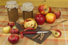 Εσωτερική παραγωγή της μαρμελάδας και της κανέλας μήλων Μαρμελάδα της Apple στον πίνακα κουζινών Στοκ Εικόνες