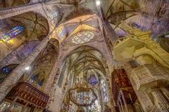 Εσωτερική στέγη καθεδρικών ναών Majorca στο hdr Στοκ Εικόνα