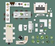 Εσωτερική τοπ άποψη εικονιδίων, δέντρο, έπιπλα, κρεβάτι, καναπές, πολυθρόνα ελεύθερη απεικόνιση δικαιώματος