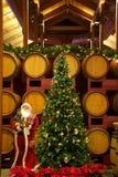 Εσωτερική φωτογραφία αποθεμάτων του χριστουγεννιάτικου δέντρου που τίθεται ενάντια στα βαρέλια κρασιού στοκ εικόνα