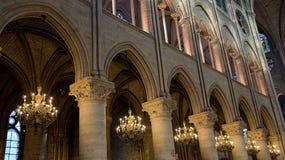 Εσωτερική φωτογραφία καθεδρικών ναών της Notre Dame Στοκ Εικόνες