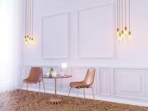 Εσωτερική χλεύη τοίχων καθιστικών επάνω στο άσπρο υπόβαθρο, τρισδιάστατη απόδοση, τρισδιάστατη απεικόνιση Στοκ Εικόνα