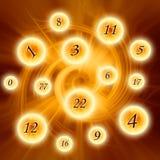 Εσωτερικοί αριθμοί στους μαγικούς κύκλους πέρα από την απόκρυφη περιστροφή όπως την έννοια numerology στοκ εικόνα