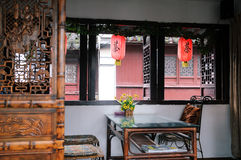 Εσωτερικός ενός κινεζικού σπιτιού τσαγιού Στοκ φωτογραφία με δικαίωμα ελεύθερης χρήσης
