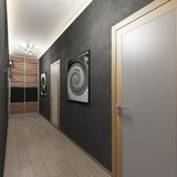 Εσωτερικός διάδρομος με τις πόρτες και το διακοσμητικό ασβεστοκονίαμα τοίχων απεικόνιση αποθεμάτων