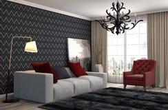 εσωτερικός καναπές τρισδιάστατη απεικόνιση Στοκ Εικόνες