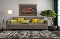 εσωτερικός καναπές τρισδιάστατη απεικόνιση Στοκ εικόνα με δικαίωμα ελεύθερης χρήσης