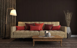 εσωτερικός καναπές τρισδιάστατη απεικόνιση Στοκ φωτογραφία με δικαίωμα ελεύθερης χρήσης