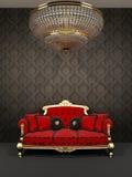 εσωτερικός κόκκινος βασιλικός καναπές πολυελαίων διανυσματική απεικόνιση