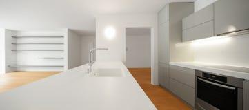 εσωτερικός σύγχρονος διαμερισμάτων κουζίνα Στοκ φωτογραφία με δικαίωμα ελεύθερης χρήσης