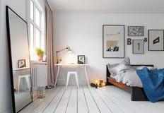 εσωτερικός σύγχρονος κρεβατοκάμαρων Στοκ Φωτογραφίες