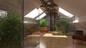 εσωτερικός σύγχρονος Σπίτι Eco, θερμοκήπιο Σύγχρονη διαστημική ζωτικότητα αρχιτεκτονικής με τον καναπέ και τις πράσινες εγκαταστά ελεύθερη απεικόνιση δικαιώματος