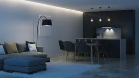 εσωτερικός σύγχρονος σπιτιών μαύρη κουζίνα νύχτα Φωτισμός βραδιού διανυσματική απεικόνιση