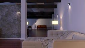 εσωτερικός σύγχρονος Σύγχρονη διαστημική ζωτικότητα αρχιτεκτονικής με τον καναπέ διανυσματική απεικόνιση