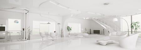 Εσωτερικό άσπρο πανόραμα διαμερισμάτων τρισδιάστατο Στοκ φωτογραφία με δικαίωμα ελεύθερης χρήσης
