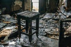 Εσωτερικό από το σπίτι πυρκαγιάς Στοκ Εικόνες