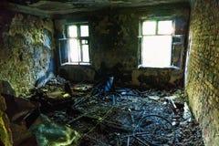 Εσωτερικό από το σπίτι πυρκαγιάς Στοκ Φωτογραφία