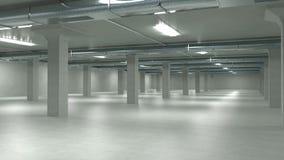 Εσωτερικό, βιομηχανικό κτήριο γκαράζ χώρων στάθμευσης, κενός υπόγειος χώρος στάθμευσης τρισδιάστατη απεικόνιση απεικόνιση αποθεμάτων