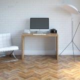 Εσωτερικό γραφείου εγχώριας εργασίας με την άσπρη πολυθρόνα και φωτισμός Στοκ Φωτογραφία