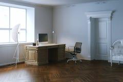 Εσωτερικό γραφείο γραφείων κομψότητας με την ξύλινη πόρτα τρισδιάστατος δώστε Στοκ Εικόνα