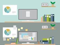 Εσωτερικό γραφείο desiggn εργασιακών χώρων επίπεδο διανυσματική απεικόνιση