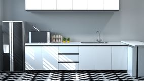 Εσωτερικό γραφείων κουζινών που μαγειρεύει τον άσπρο πίνακα, σύγχρονο τρισδιάστατο δίνοντας εγχώριο σχέδιο εστιατορίων τροφίμων γ στοκ φωτογραφία με δικαίωμα ελεύθερης χρήσης