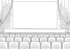 Εσωτερικό γραφικό μαύρο άσπρο διάνυσμα απεικόνισης σκίτσων κινηματογράφων Στοκ Φωτογραφίες