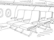 Εσωτερικό γραφικό μαύρο άσπρο διάνυσμα απεικόνισης σκίτσων αεροσκαφών Στοκ Φωτογραφία