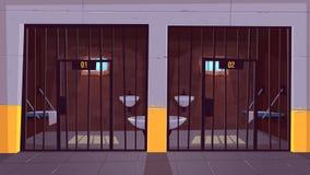 Εσωτερικό διάνυσμα κινούμενων σχεδίων μονών κυττάρων φυλακών ελεύθερη απεικόνιση δικαιώματος