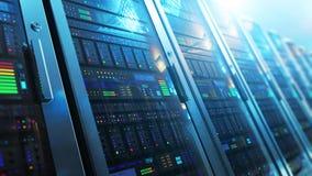Εσωτερικό δωματίων κεντρικών υπολογιστών στο datacenter απόθεμα βίντεο