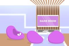 Εσωτερικό δωματίων παιχνιδιών Ψηφιακή κονσόλα, σύγχρονα έπιπλα διανυσματική απεικόνιση