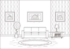 Εσωτερικό δωματίων περιλήψεων στο επίπεδο σχέδιο επίσης corel σύρετε το διάνυσμα απεικόνισης Στοκ εικόνες με δικαίωμα ελεύθερης χρήσης