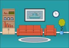 Εσωτερικό δωματίων στο επίπεδο σχέδιο επίσης corel σύρετε το διάνυσμα απεικόνισης Στοκ εικόνες με δικαίωμα ελεύθερης χρήσης