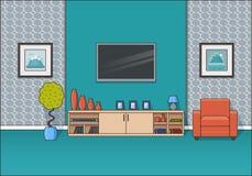 Εσωτερικό δωματίων στο επίπεδο σχέδιο τέχνης γραμμών επίσης corel σύρετε το διάνυσμα απεικόνισης Στοκ φωτογραφία με δικαίωμα ελεύθερης χρήσης