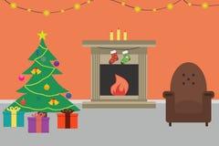 Εσωτερικό δωματίων Χριστουγέννων Επίπεδο ύφος επίσης corel σύρετε το διάνυσμα απεικόνισης απεικόνιση αποθεμάτων