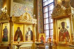 Εσωτερικό εικονιδίων της ρωσικής Ορθόδοξης Εκκλησίας Στοκ φωτογραφία με δικαίωμα ελεύθερης χρήσης