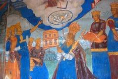Εσωτερικό εκκλησιών με τις αρχικές 17ες νωπογραφίες αιώνα Στοκ Εικόνες
