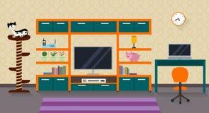 Εσωτερικό ενός καθιστικού με τα έπιπλα, τη TV και μια χαριτωμένη γάτα Στοκ εικόνα με δικαίωμα ελεύθερης χρήσης