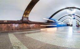 Εσωτερικό ενός σταθμού μετρό Pobeda Στοκ φωτογραφίες με δικαίωμα ελεύθερης χρήσης