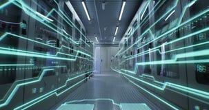 Εσωτερικό ενός φουτουριστικού κέντρου δεδομένων απόθεμα βίντεο