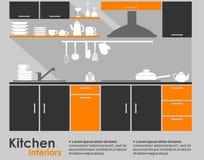 Εσωτερικό επίπεδο σχέδιο κουζινών Στοκ Εικόνες
