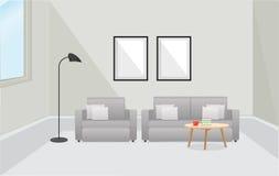 Εσωτερικό επίπλων καθιστικό με τον καναπέ επίσης corel σύρετε το διάνυσμα απεικόνισης Στοκ εικόνα με δικαίωμα ελεύθερης χρήσης