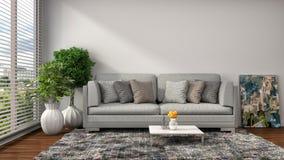 εσωτερικό λευκό καναπέδ& τρισδιάστατη απεικόνιση Στοκ Εικόνες