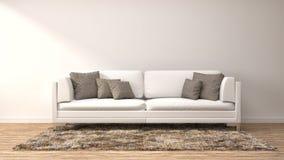 εσωτερικό λευκό καναπέδ& τρισδιάστατη απεικόνιση Στοκ φωτογραφία με δικαίωμα ελεύθερης χρήσης