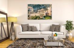 εσωτερικό λευκό καναπέδ& τρισδιάστατη απεικόνιση Στοκ Φωτογραφίες